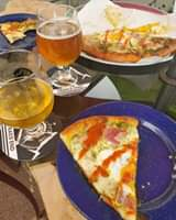 Benedict pizza goes amazing with a Right as Rain Golden Ale and Creek Hoppin' IPA